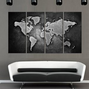 4pieces-framed-Wall-Art-Picture-Gift-Home-Decoration-Canvas-Print-painting-Black-and-white-world-map.jpg