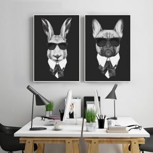 Cool-Rabbit-Pig-Drawing-with-Glasses-Canvas-Wall-Art-Print-Painting-Well-Animals-Picture-2-Panel.jpg