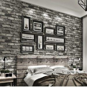 vintage bricks textured wallpaper – 3d grey