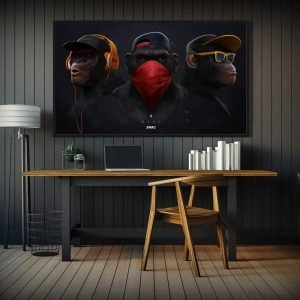 AAVV-Canvas-Wall-Art-Pictures-Animal-Chimps-Earphone-For-Living-Room-Home-Decor-Animal-Painting-No.jpg
