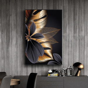 0-main-noir-dor-plante-feuille-toile-affiche-impression-moderne-dcor–la-maison-abstraite-mur-art-peinture-nordique-salon-dcoration-photo